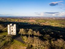 An aerial view of Haldon forest in Devon, UK. An aerial view of Belvedere castle at Haldon forest in Devon, United Kingdom stock photo