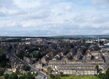 Aerial view of halifax in yorkshire with pennines background Royalty Free Stock Photography