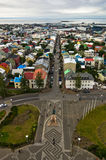Aerial view from Hallgrimskirkja church on Reykjavik downtown and harbor Stock Photos
