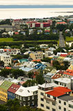 Aerial view from Hallgrimskirkja church on Reykjavik downtown and harbor Stock Photography