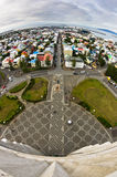 Aerial view from Hallgrimskirkja church on Reykjavik downtown and harbor Royalty Free Stock Images