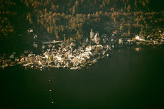 Aerial view of Hallstatt lake and town, Salzkammergut, Austria Royalty Free Stock Images