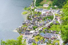 Aerial view of Hallstatt village in Alps, Austria. Aerial view of Hallstatt village in Alps postcard view, Austria Royalty Free Stock Photography