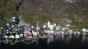 Beautiful landscape of Hallstatt village and Lake Hallstatt in Austria stock footage