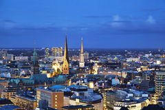 Aerial view on Hamburg from church of Saint Michael Stock Image