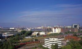 Aerial view on Hamburg's marine port Royalty Free Stock Photo