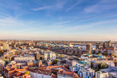 Aerial view of Hamburg. With Speicherstadt and Elbphilharmonie royalty free stock photography