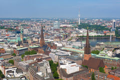 Aerial view of Hamburg Royalty Free Stock Images