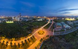 Aerial view of Hanoi skyline by twilight period. Hanoi cityscape with Le Duc Tho street, way of My Dinh stadium entrance.  Stock Photography