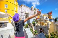 Sintra Pena Palace woman Royalty Free Stock Photos