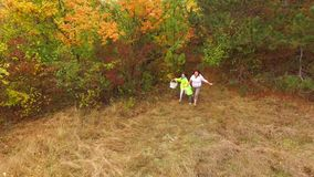 AERIAL VIEW. Happy Family Of Three Running In stock video footage