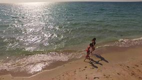 AERIAL VIEW. Happy Mother With Two Children. AERIAL VIEW. This is a picturesque shot of a happy family - mother and two small children running along the seashore stock video