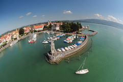 Aerial View of a Harbor Stock Photography