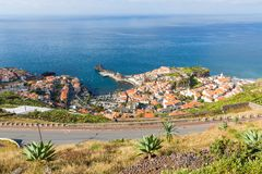 Aerial view harbor of Camara do Lobos at Madeira Island Royalty Free Stock Photography