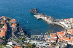 Aerial view harbor Camara do Lobos at Madeira, Portugal Royalty Free Stock Images