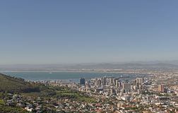 An aerial view of the harbor and Central Business District of Cape Town as seen from Signal Hill stock images
