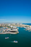 Aerial view of the Harbor district in Barcelona Stock Photography