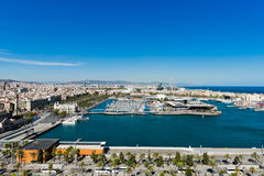 Aerial view of the Harbor district in Barcelona Royalty Free Stock Image