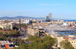 Aerial view of the Harbor district with Columbus colomn and Ramblas in Barcelona, Spain Royalty Free Stock Image