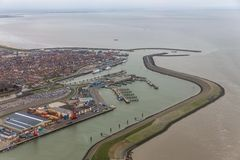 Aerial view harbor Harlingen, Dutch village at Wadden Sea royalty free stock images