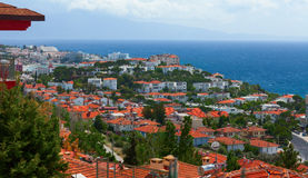 The aerial view of the harbor of Kusadasi town. Turkey Stock Photography