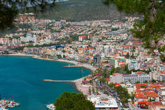 The aerial view of the harbor of Kusadasi town. Turkey Royalty Free Stock Images
