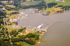 Aerial view harbor and marina Royalty Free Stock Photography