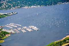 Aerial view harbor and marina Royalty Free Stock Photo