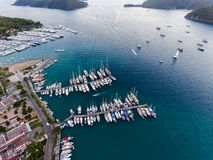 Aerial view of harbor, Marmaris, Turkey Royalty Free Stock Images