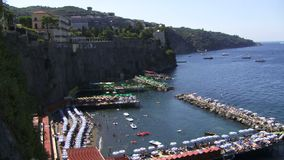 Aerial view of the harbor in Sorrento Italy stock footage