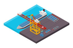 Aerial view of harbor waterfront and maritime terminal with container ship loading Stock Photos