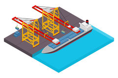 Aerial view of harbor waterfront and maritime terminal with container ship loading isometric poster Stock Photography