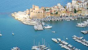Aerial view harbour of castellammare del Golfo Sicily Italy stock footage