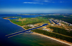 Aerial view of harbour of Lubmin. Aerial view of harbour and industrial area of Lubmin Royalty Free Stock Image