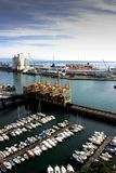 Aerial view of the harbour in Savona, Italy. With cranes and small boats Royalty Free Stock Photos