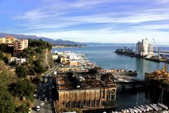 Aerial view of the harbour in Savona, Italy. With cranes and small boats Stock Photo