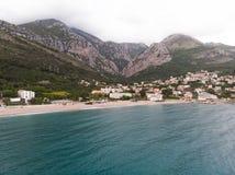 Aerial view Harbour and small town at Boka Kotor bay Boka Kotorska Montenegro, Europe. Aerial view Harbour and small town at Boka Kotor bay & x28;Boka Kotorska& royalty free stock image