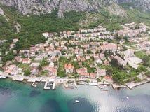 Aerial view Harbour and small town at Boka Kotor bay, Boka Kotorska , Montenegro, Europe. Aerial view Harbour and small town at Boka Kotor bay & x28;Boka royalty free stock photo