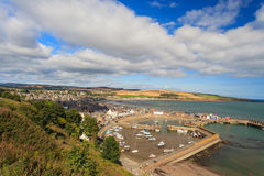 Aerial view of harbour at Stonehaven bay, Aberdeenshire. Scotland, UK Royalty Free Stock Photography