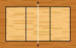 Aerial View of Hardwood Volleyball Court Illustration Royalty Free Stock Photo