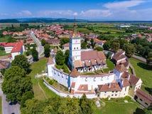 Aerial view of Harman Saxon Fortified Church in the village of H. Arman near Brasov Transylvania Romania Brasov County stock photos