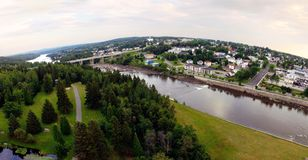 Aerial view of harnessed river fisheye effect Stock Photography