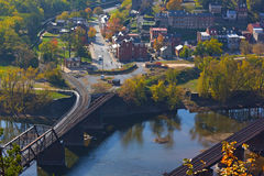 Aerial view on Harpers Ferry historic town in autumn. Stock Photography