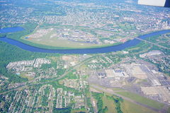 Aerial view of hartford city. Aerial view of a river at hartford, CT Royalty Free Stock Images