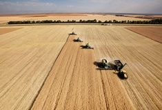 Aerial View of Harvest Stock Photos