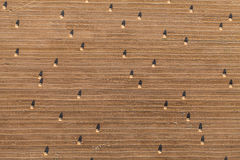 Aerial view of harvest field and hay bales Royalty Free Stock Photos
