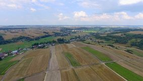 Aerial view of harvest field landscape at summert in Poland. stock footage
