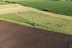 Aerial view of harvest fields with combine Royalty Free Stock Photos