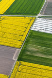 Aerial view of harvest fields Stock Image