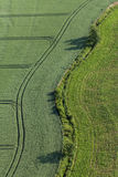 Aerial view of harvest fields Stock Images